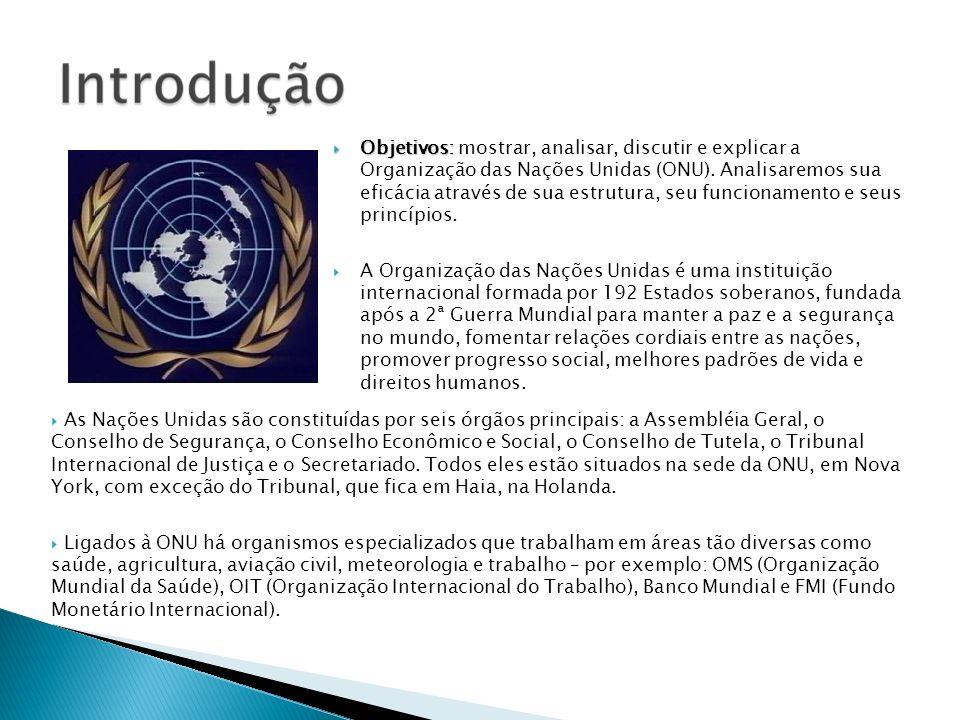 Objetivos: mostrar, analisar, discutir e explicar a Organização das Nações Unidas (ONU). Analisaremos sua eficácia através de sua estrutura, seu funcionamento e seus princípios.