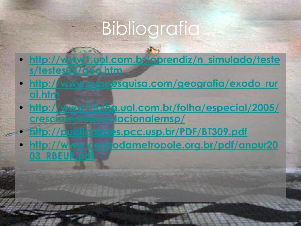 Bibliografia http://www1.uol.com.br/aprendiz/n_simulado/testes/testes03/geo.htm. http://www.suapesquisa.com/geografia/exodo_rural.htm.