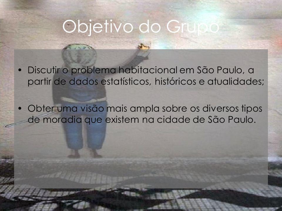 Objetivo do Grupo Discutir o problema habitacional em São Paulo, a partir de dados estatísticos, históricos e atualidades;