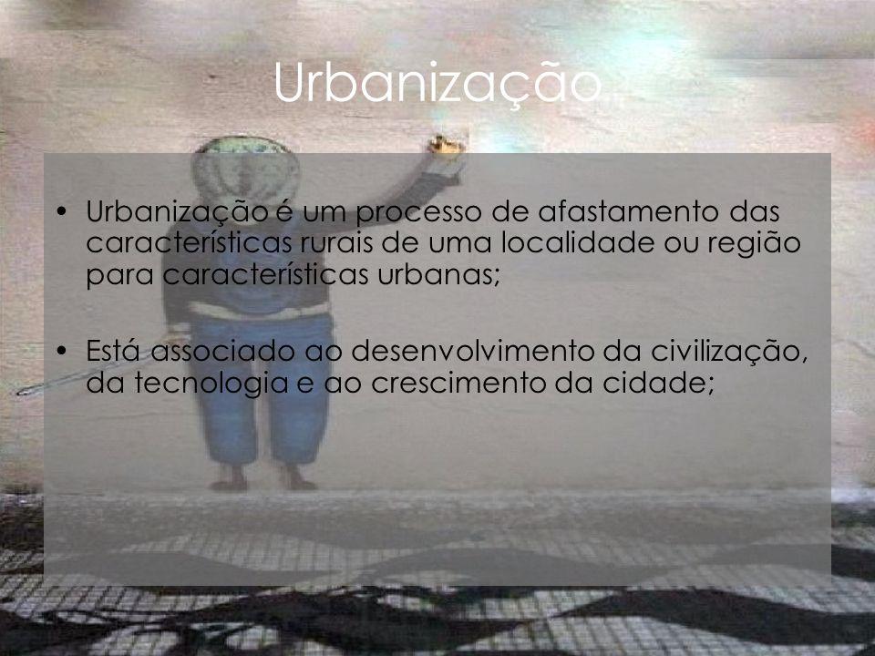 Urbanização Urbanização é um processo de afastamento das características rurais de uma localidade ou região para características urbanas;