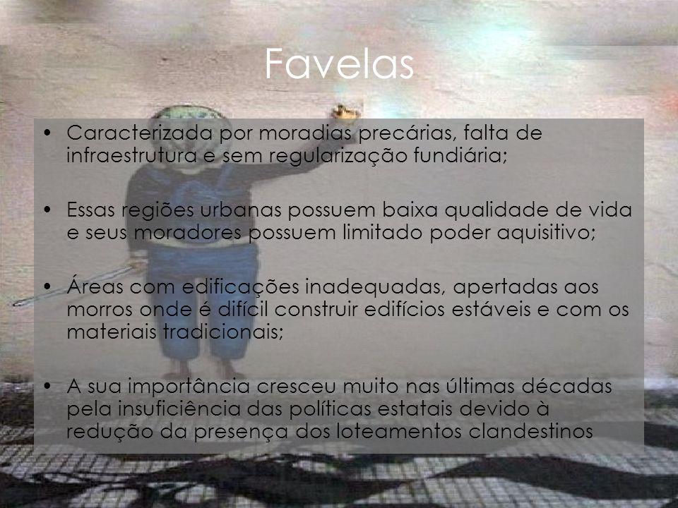 Favelas Caracterizada por moradias precárias, falta de infraestrutura e sem regularização fundiária;