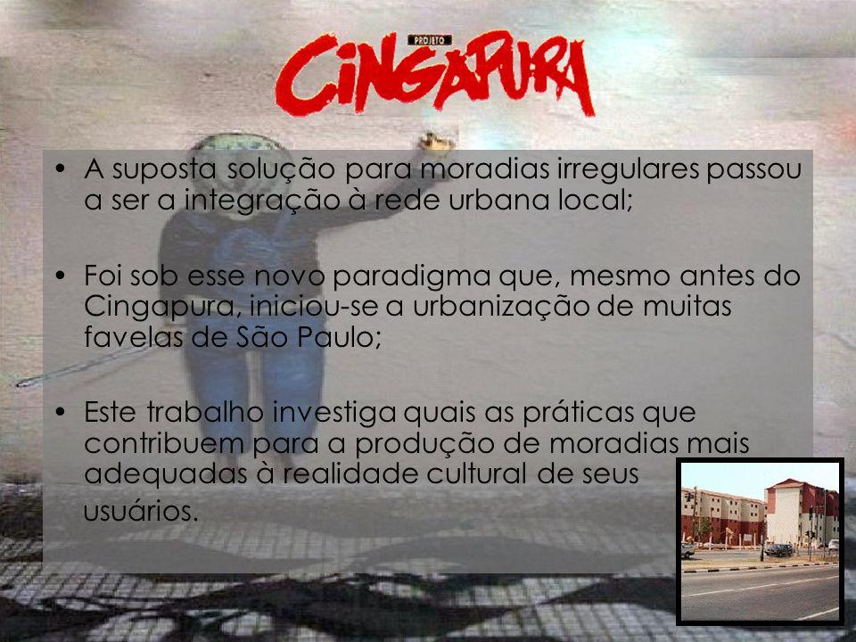 A suposta solução para moradias irregulares passou a ser a integração à rede urbana local;