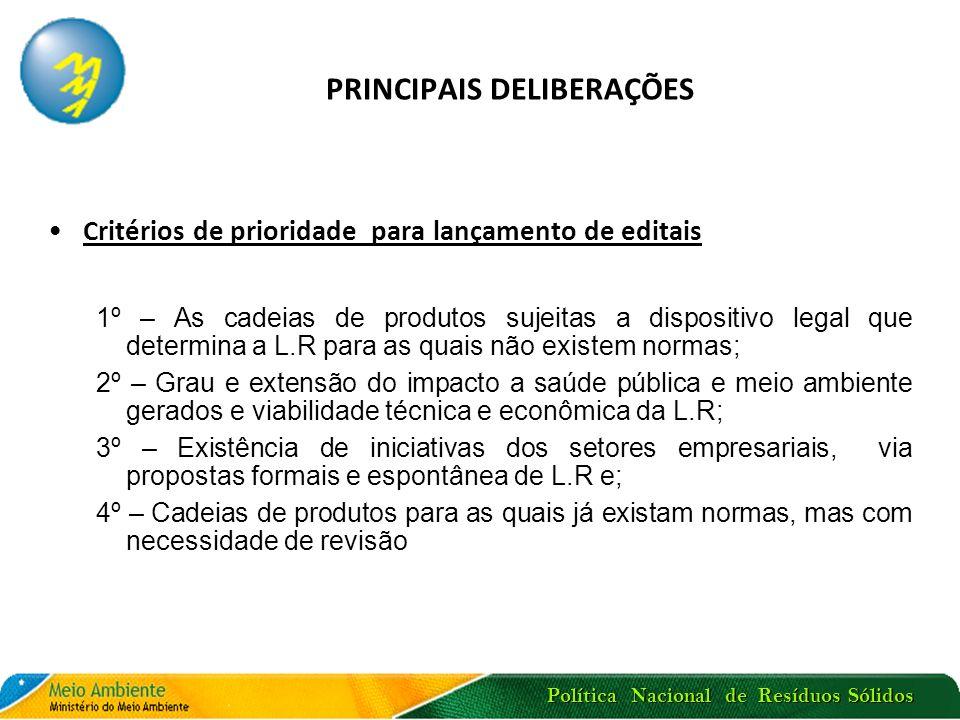 PRINCIPAIS DELIBERAÇÕES