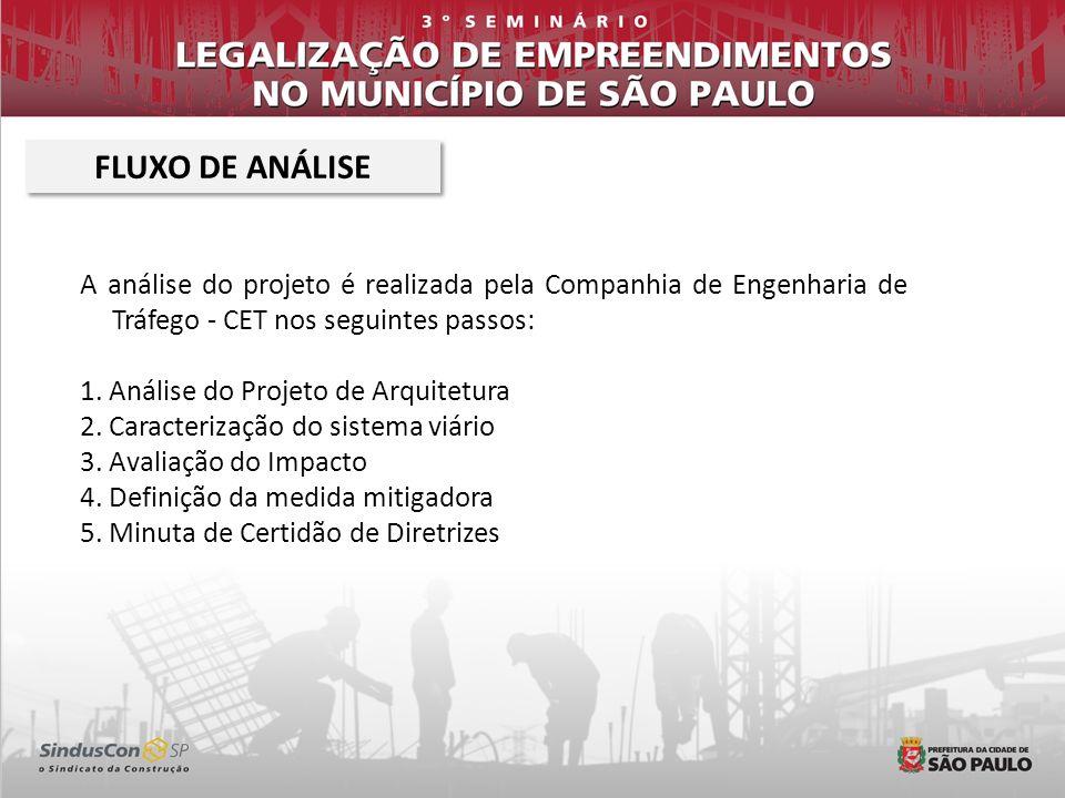 FLUXO DE ANÁLISE A análise do projeto é realizada pela Companhia de Engenharia de Tráfego - CET nos seguintes passos: