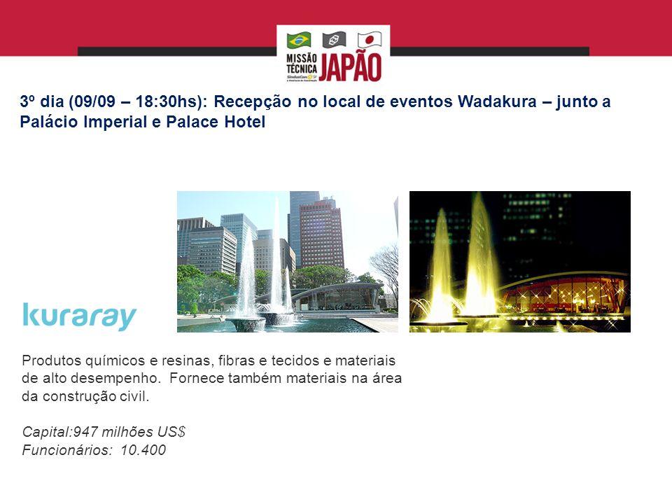 3º dia (09/09 – 18:30hs): Recepção no local de eventos Wadakura – junto a Palácio Imperial e Palace Hotel