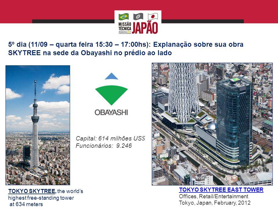 5º dia (11/09 – quarta feira 15:30 – 17:00hs): Explanação sobre sua obra SKYTREE na sede da Obayashi no prédio ao lado