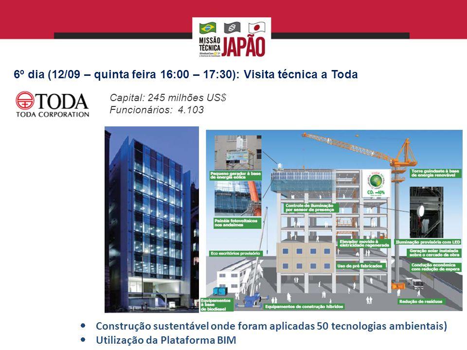 6º dia (12/09 – quinta feira 16:00 – 17:30): Visita técnica a Toda