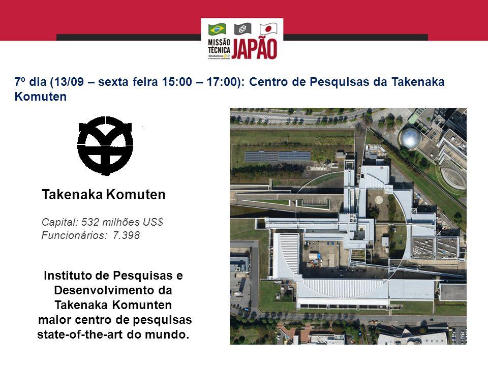 7º dia (13/09 – sexta feira 15:00 – 17:00): Centro de Pesquisas da Takenaka Komuten
