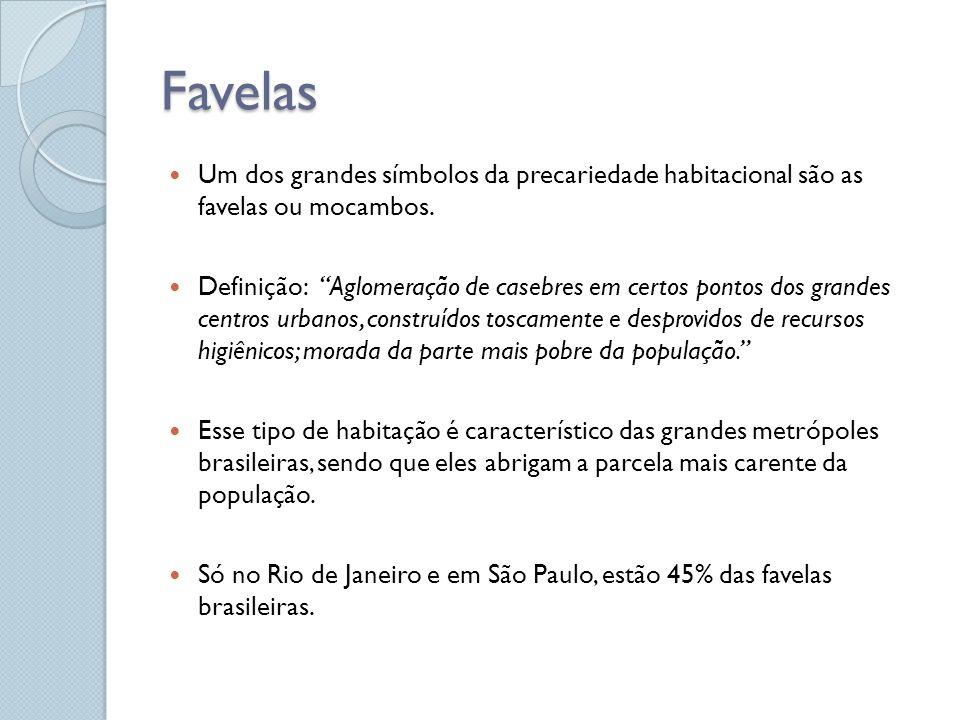 Favelas Um dos grandes símbolos da precariedade habitacional são as favelas ou mocambos.