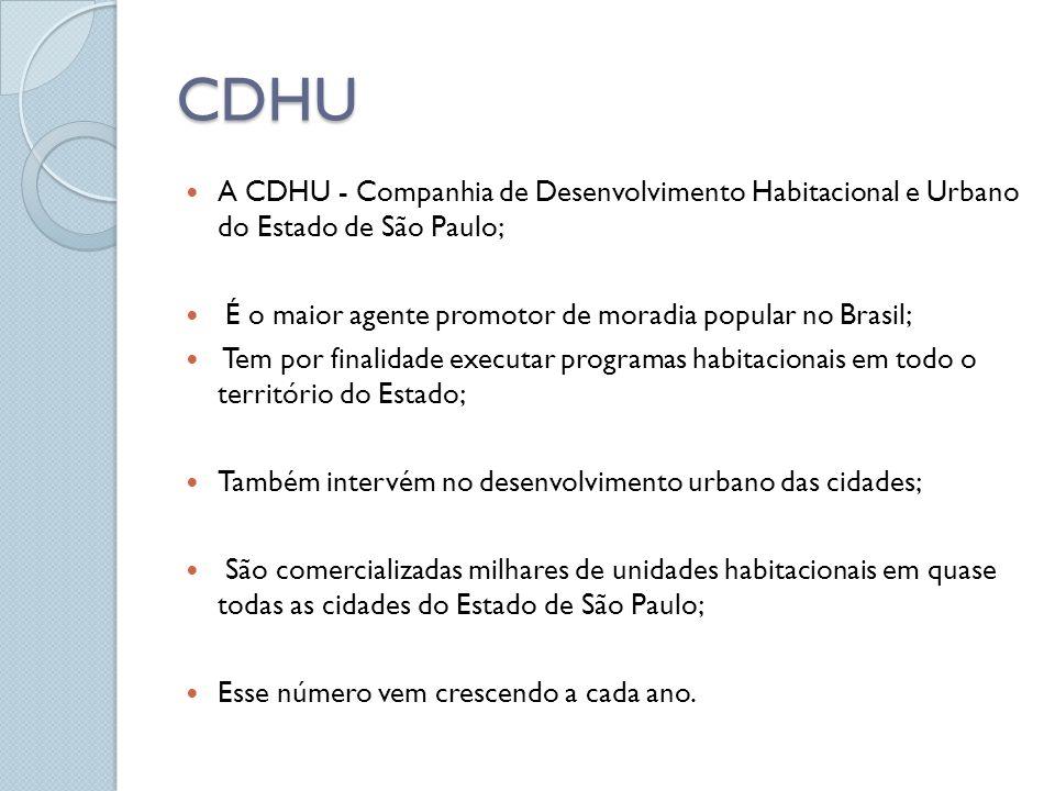 CDHU A CDHU - Companhia de Desenvolvimento Habitacional e Urbano do Estado de São Paulo; É o maior agente promotor de moradia popular no Brasil;