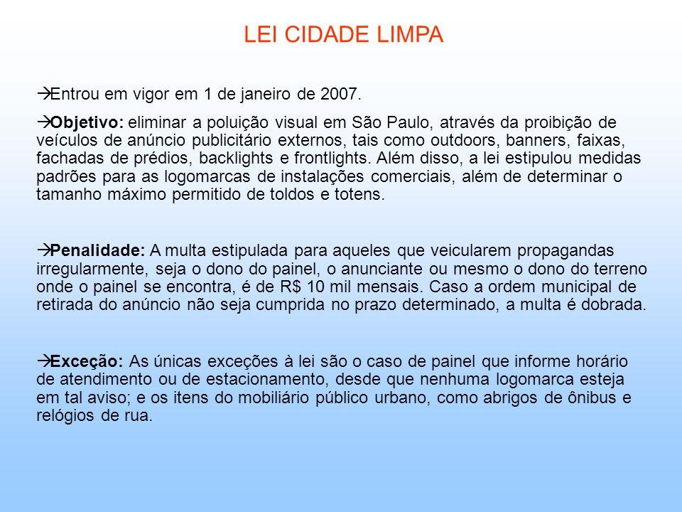 LEI CIDADE LIMPA Entrou em vigor em 1 de janeiro de 2007.