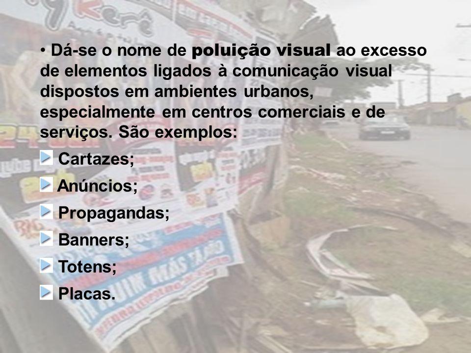 Dá-se o nome de poluição visual ao excesso de elementos ligados à comunicação visual dispostos em ambientes urbanos, especialmente em centros comerciais e de serviços. São exemplos: