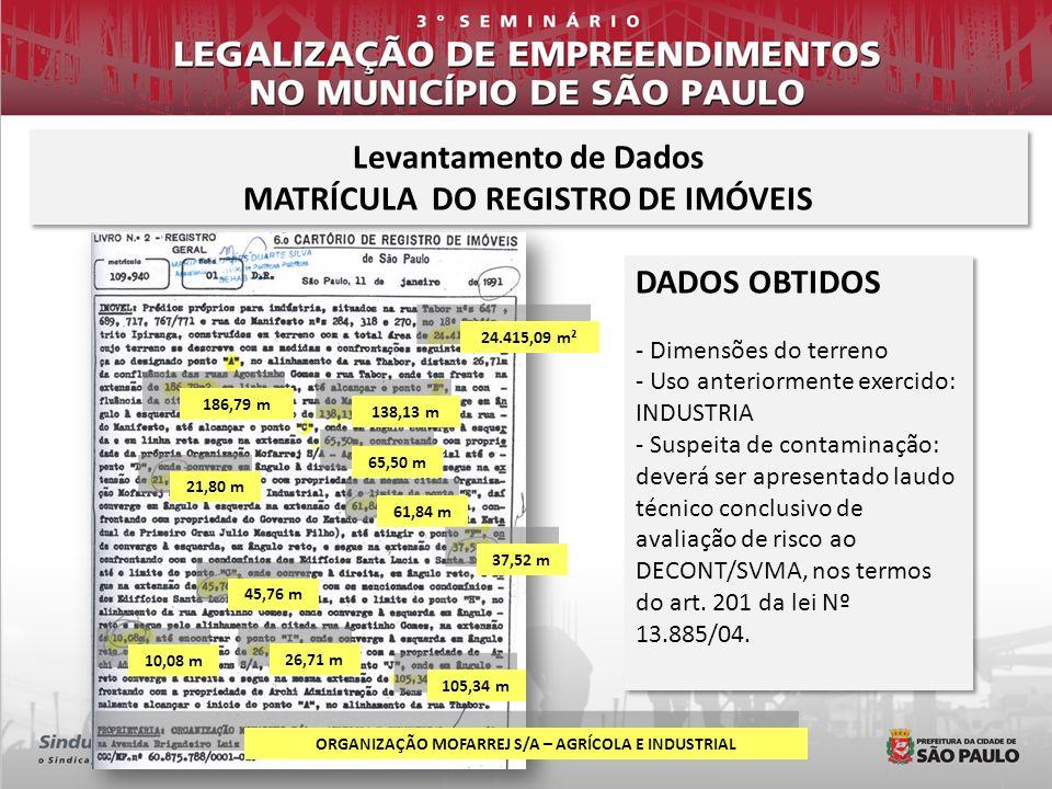 Levantamento de Dados MATRÍCULA DO REGISTRO DE IMÓVEIS