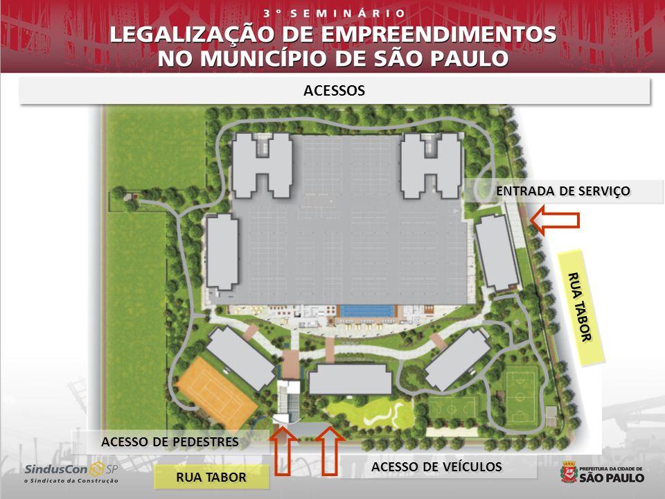 ACESSOS ENTRADA DE SERVIÇO RUA TABOR ACESSO DE PEDESTRES