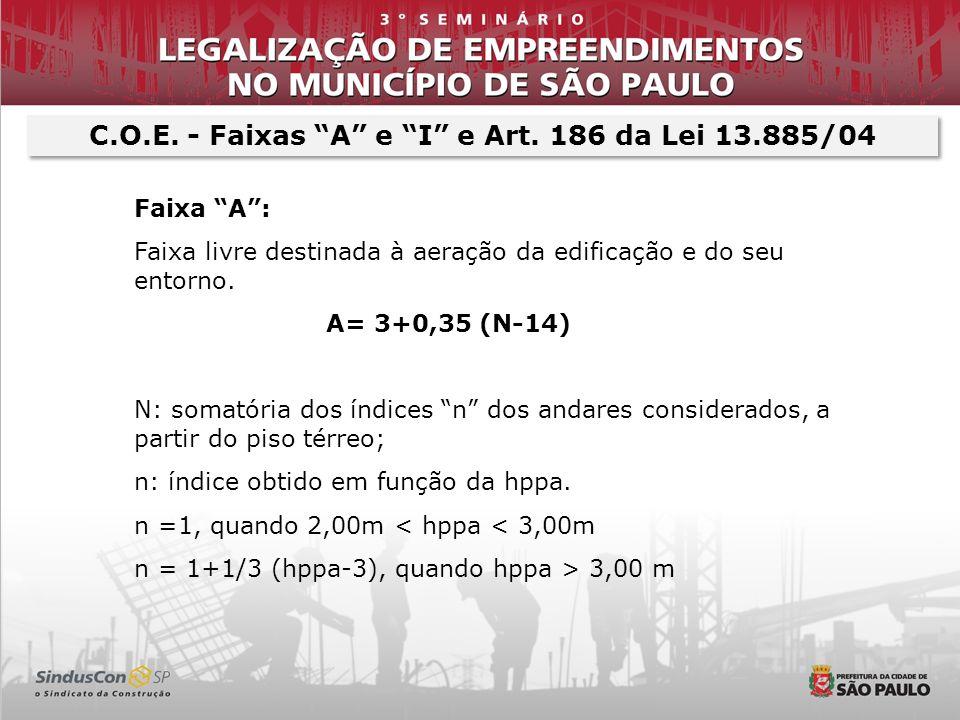C.O.E. - Faixas A e I e Art. 186 da Lei 13.885/04