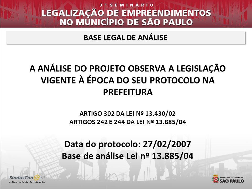 BASE LEGAL DE ANÁLISE A ANÁLISE DO PROJETO OBSERVA A LEGISLAÇÃO VIGENTE À ÉPOCA DO SEU PROTOCOLO NA PREFEITURA.