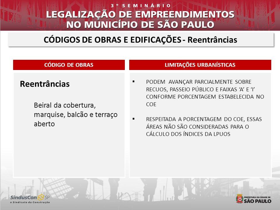 CÓDIGOS DE OBRAS E EDIFICAÇÕES - Reentrâncias LIMITAÇÕES URBANÍSTICAS