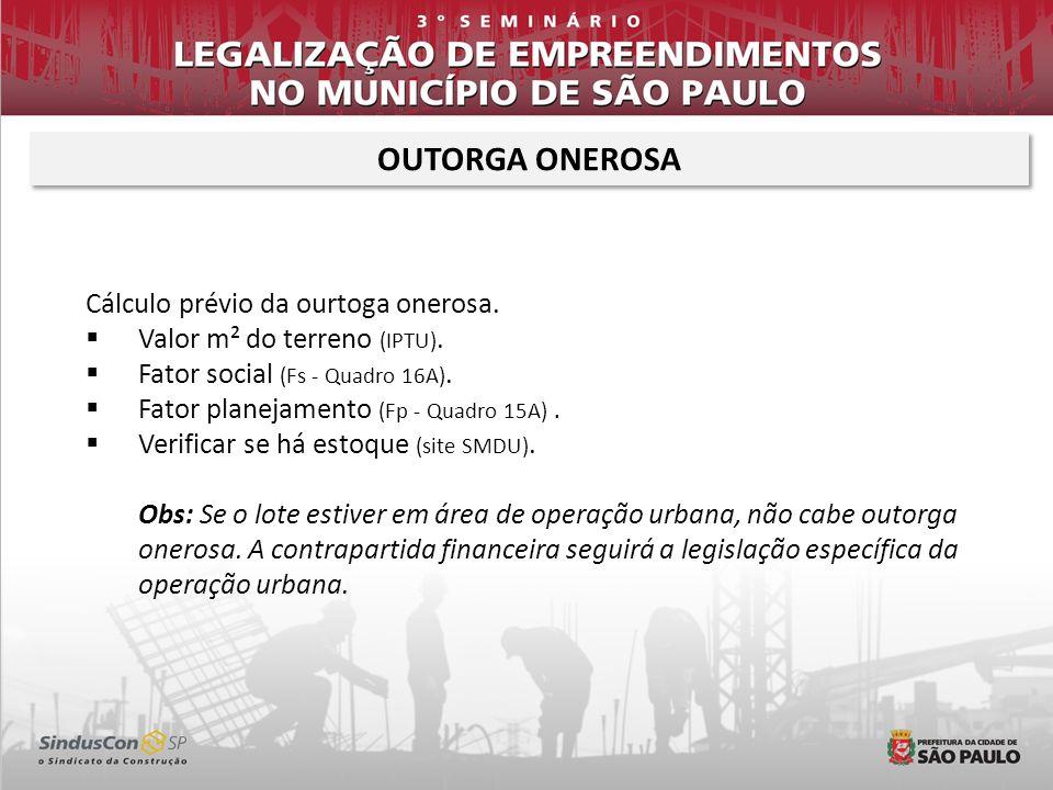 OUTORGA ONEROSA Cálculo prévio da ourtoga onerosa.