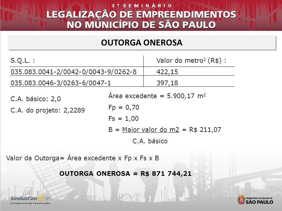 OUTORGA ONEROSA S.Q.L. : 035.083.0041-2/0042-0/0043-9/0262-8