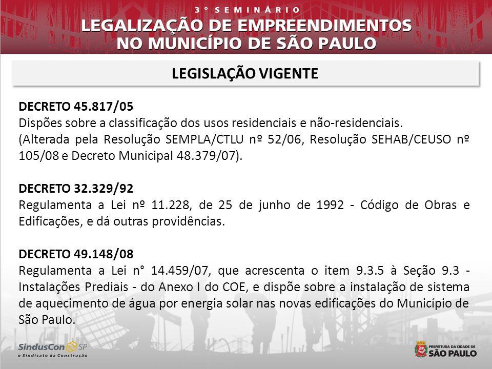 LEGISLAÇÃO VIGENTE DECRETO 45.817/05