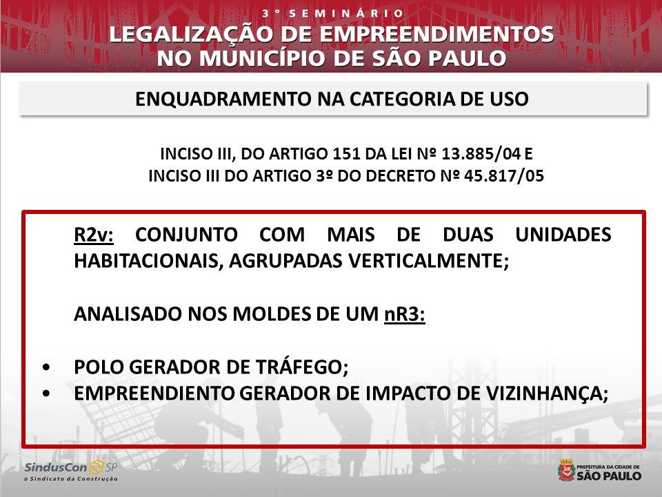 ENQUADRAMENTO NA CATEGORIA DE USO