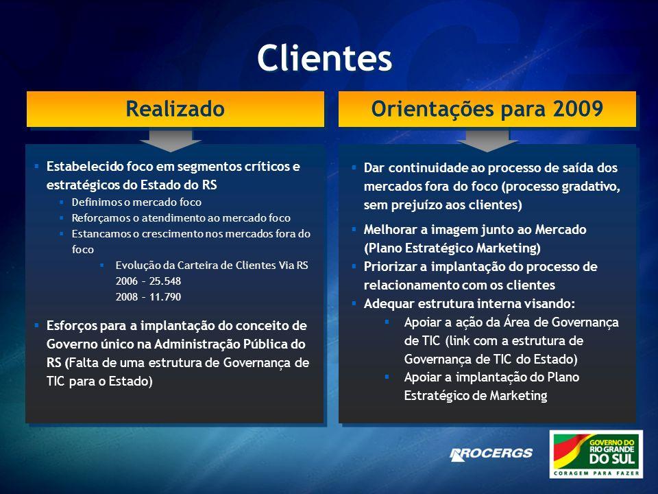 Clientes Realizado Orientações para 2009