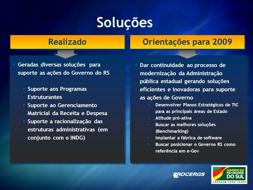 Soluções Realizado Orientações para 2009