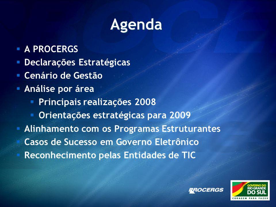 Agenda A PROCERGS Declarações Estratégicas Cenário de Gestão