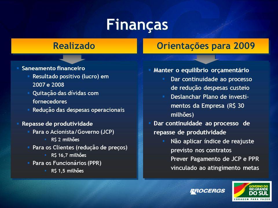 Finanças Realizado Orientações para 2009