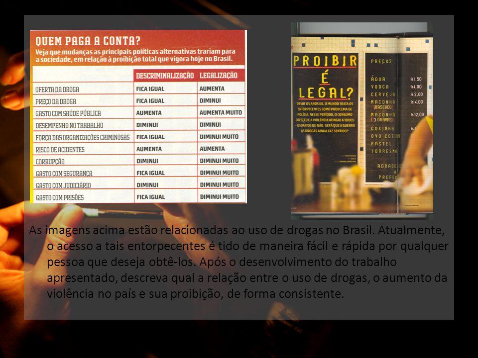 As imagens acima estão relacionadas ao uso de drogas no Brasil