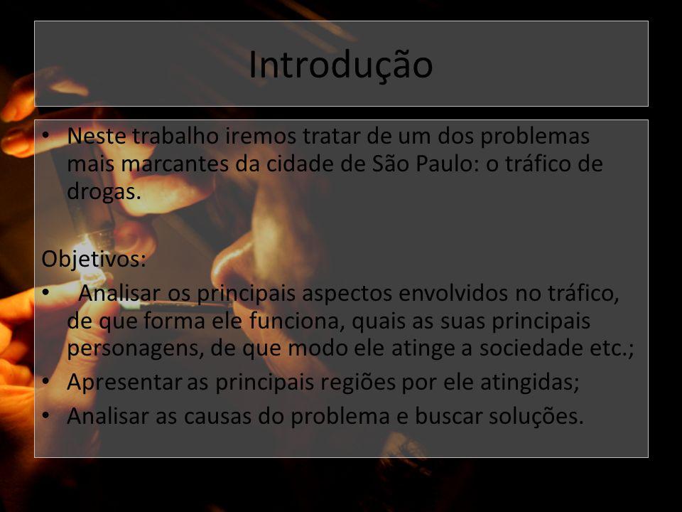 Introdução Neste trabalho iremos tratar de um dos problemas mais marcantes da cidade de São Paulo: o tráfico de drogas.