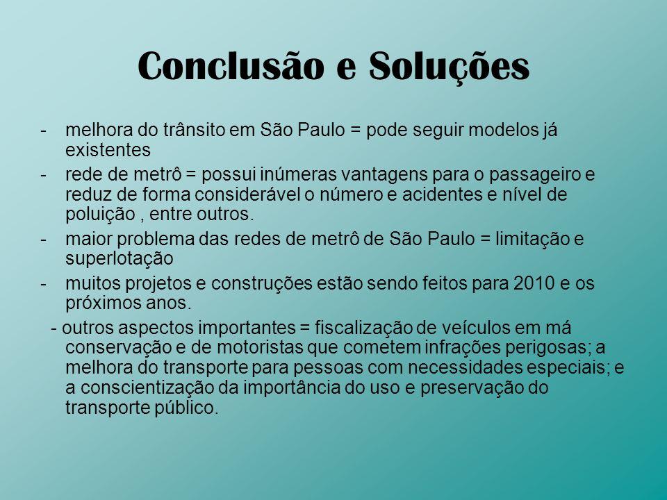 Conclusão e Soluções melhora do trânsito em São Paulo = pode seguir modelos já existentes.