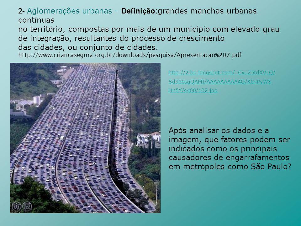 2- Aglomerações urbanas - Definição:grandes manchas urbanas contínuas
