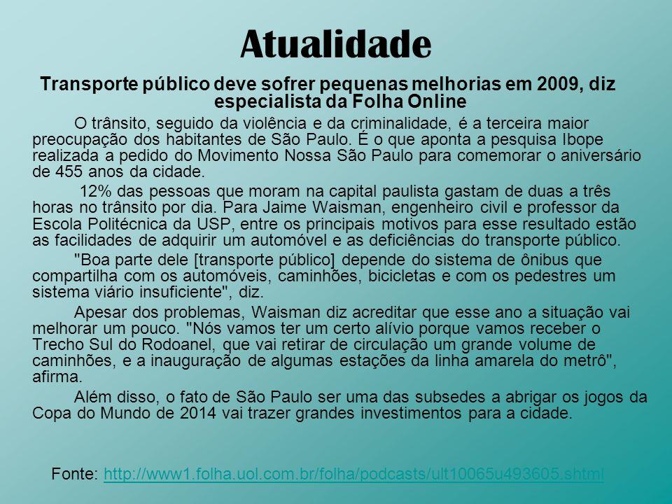 AtualidadeTransporte público deve sofrer pequenas melhorias em 2009, diz especialista da Folha Online.