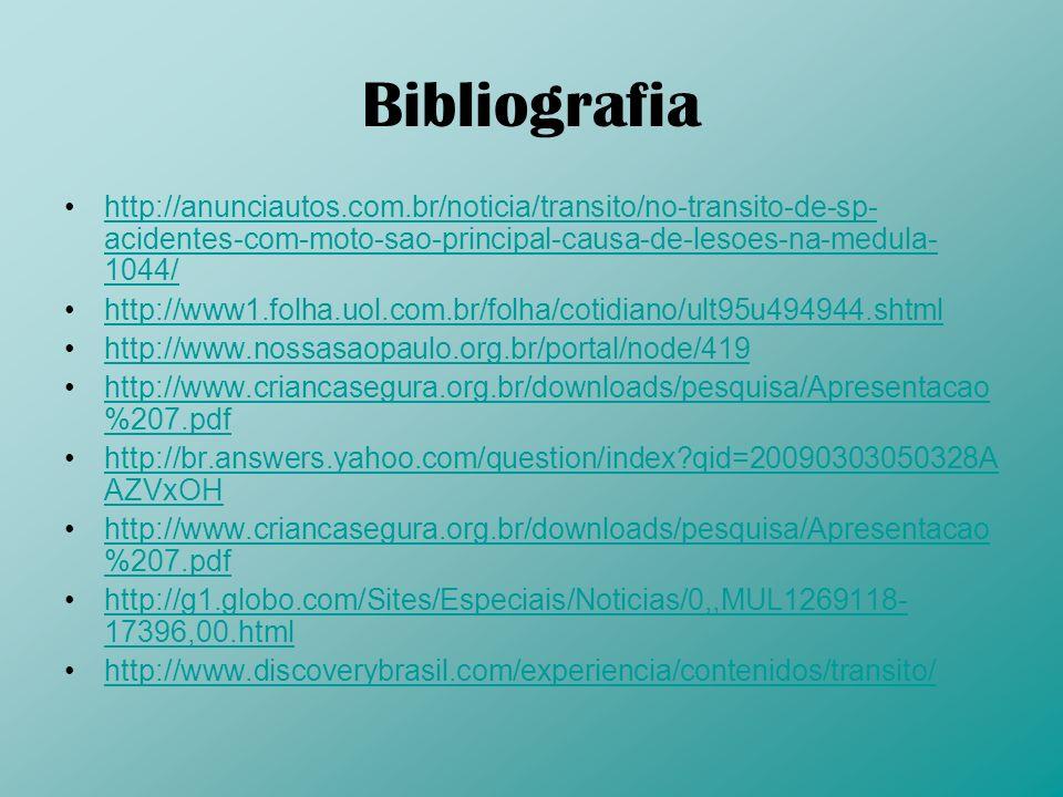 Bibliografia http://anunciautos.com.br/noticia/transito/no-transito-de-sp-acidentes-com-moto-sao-principal-causa-de-lesoes-na-medula-1044/