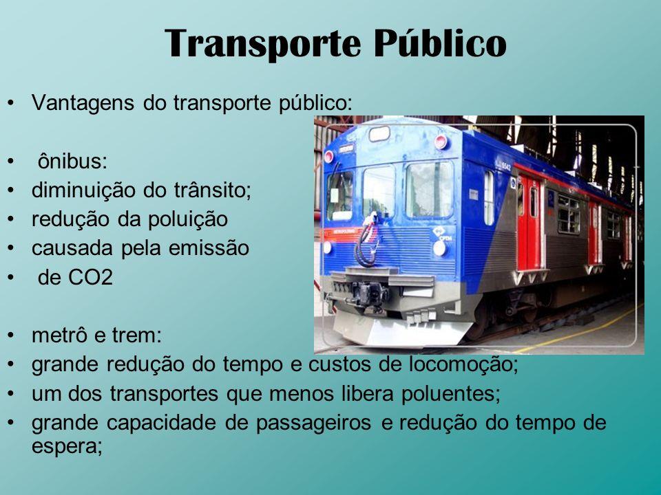 Transporte Público Vantagens do transporte público: ônibus: