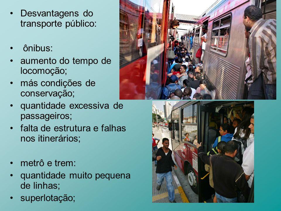 Desvantagens do transporte público: