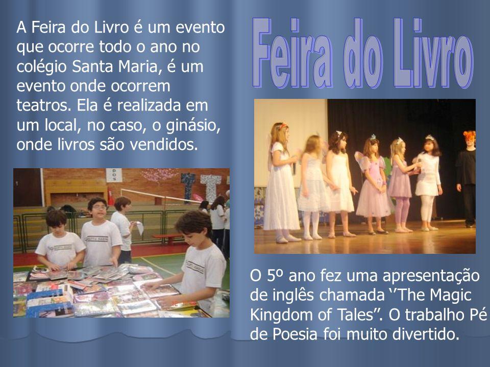 A Feira do Livro é um evento que ocorre todo o ano no colégio Santa Maria, é um evento onde ocorrem teatros. Ela é realizada em um local, no caso, o ginásio, onde livros são vendidos.