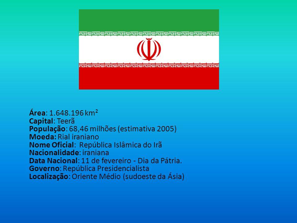 Área: 1.648.196 km² Capital: Teerã População: 68,46 milhões (estimativa 2005) Moeda: Rial iraniano Nome Oficial: República Islâmica do Irã Nacionalidade: iraniana Data Nacional: 11 de fevereiro - Dia da Pátria.