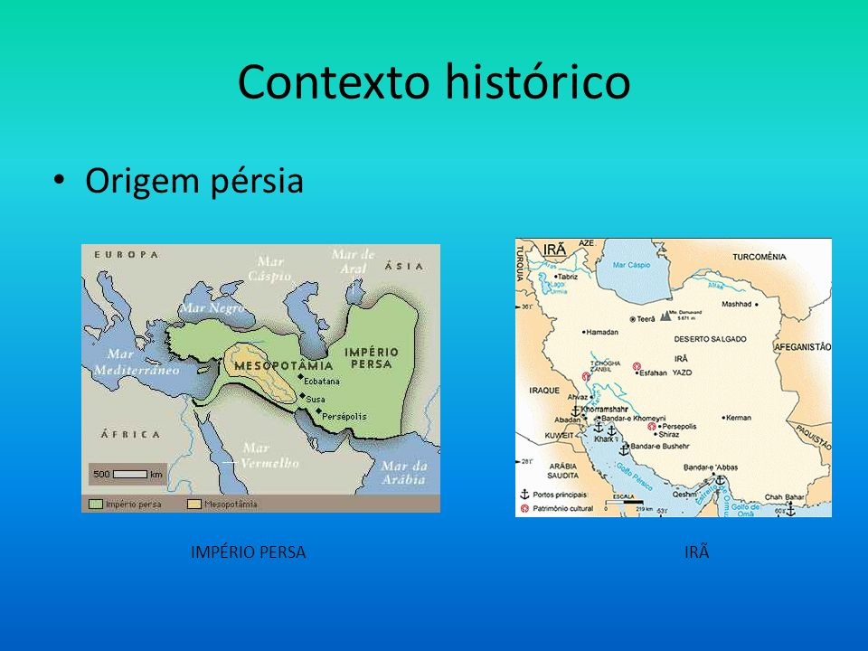 Contexto histórico Origem pérsia.