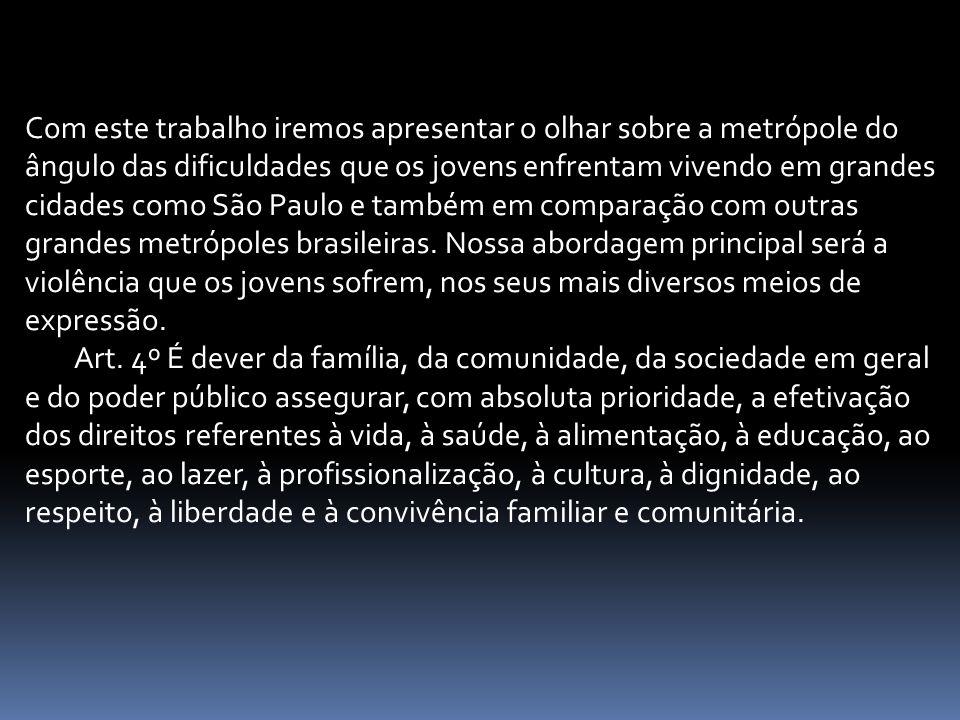 Com este trabalho iremos apresentar o olhar sobre a metrópole do ângulo das dificuldades que os jovens enfrentam vivendo em grandes cidades como São Paulo e também em comparação com outras grandes metrópoles brasileiras. Nossa abordagem principal será a violência que os jovens sofrem, nos seus mais diversos meios de expressão.