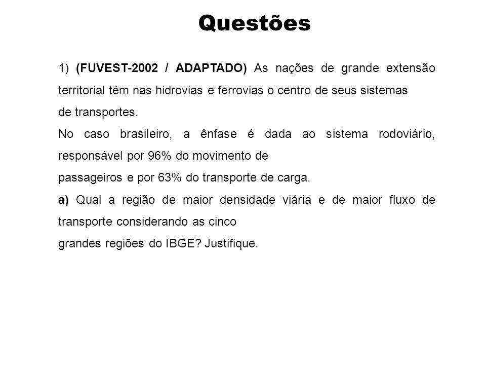 Questões 1) (FUVEST-2002 / ADAPTADO) As nações de grande extensão territorial têm nas hidrovias e ferrovias o centro de seus sistemas.