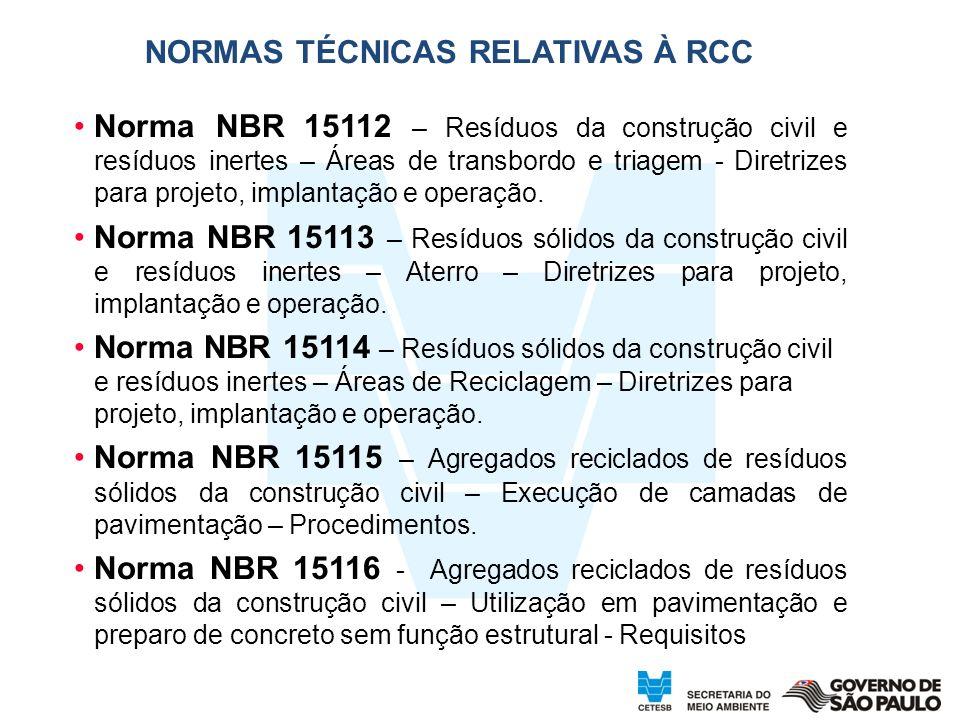NORMAS TÉCNICAS RELATIVAS À RCC
