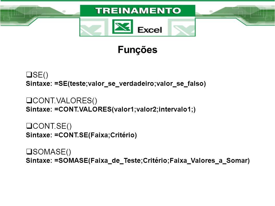 Funções SE() Sintaxe: =SE(teste;valor_se_verdadeiro;valor_se_falso)