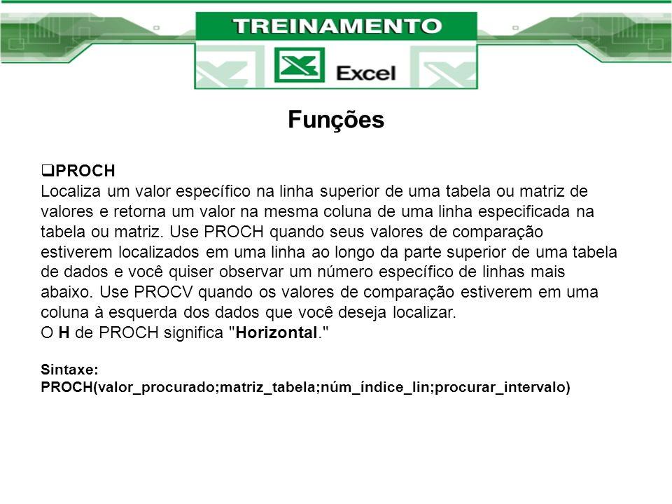 Funções PROCH.