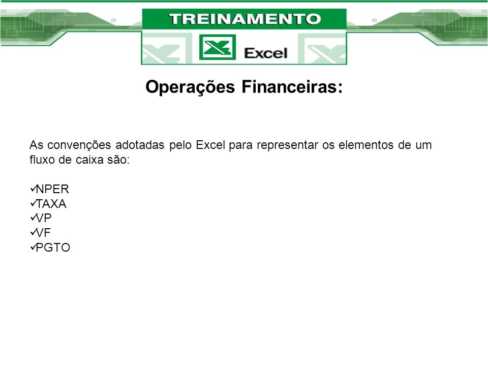 Operações Financeiras: