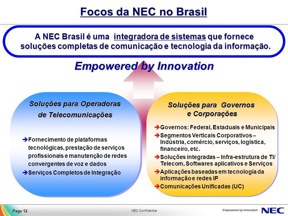 Focos da NEC no Brasil Empowered by Innovation