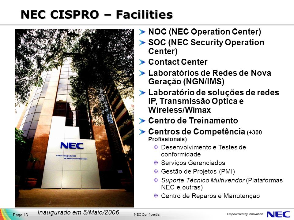 NEC CISPRO – Facilities