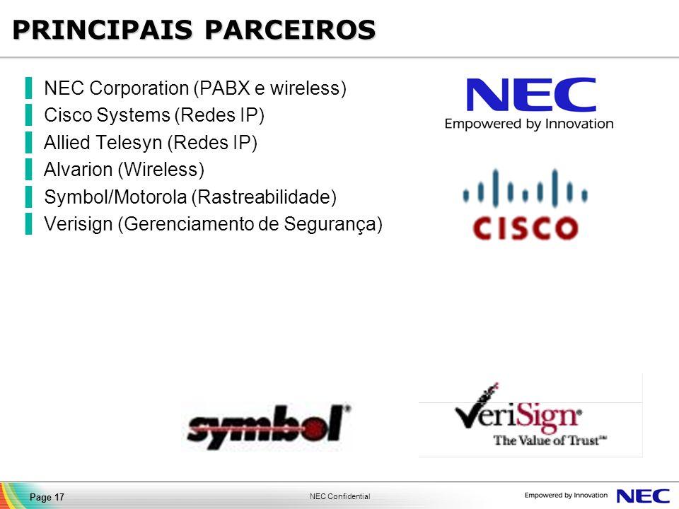 PRINCIPAIS PARCEIROS NEC Corporation (PABX e wireless)