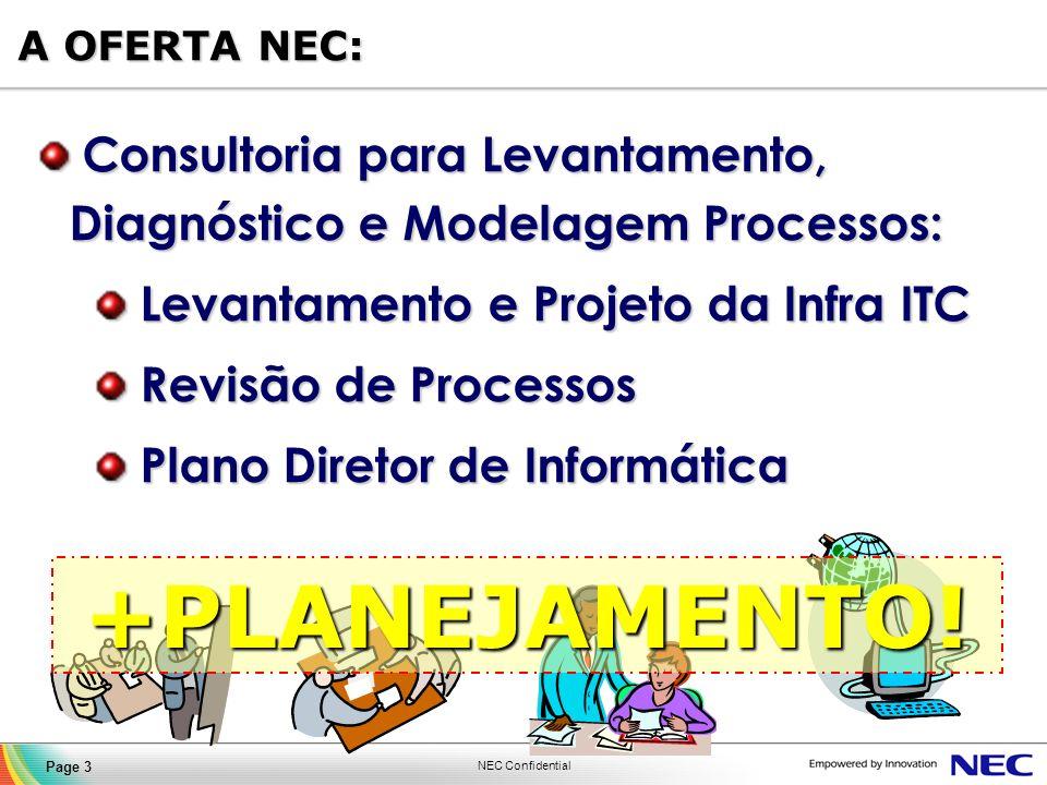 A OFERTA NEC: Consultoria para Levantamento, Diagnóstico e Modelagem Processos: Levantamento e Projeto da Infra ITC.
